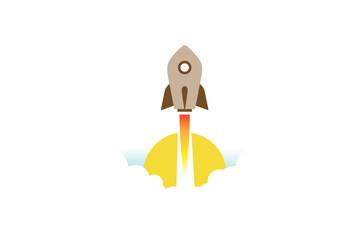 Creative Blue Rocket Sun Logo Design Illustration