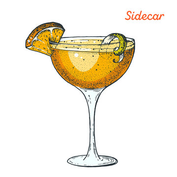 Sidecar cocktail illustration. Alcoholic cocktails hand drawn vector illustration.