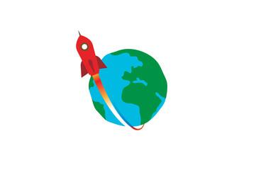 Creative Red Rocket Planet Earth Logo Design Illustration