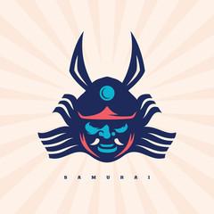 Modern professional vector emblem samurai for shop japan gifts