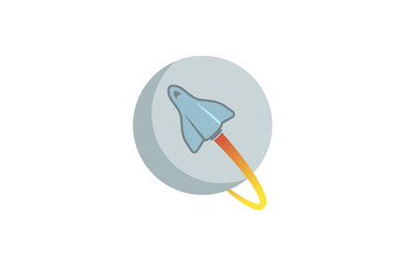 Creative Blue Rocket Planet Logo Design Illustration