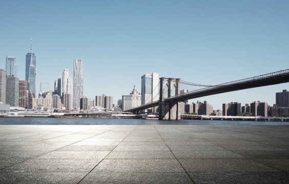 empty street with modern city new york as background