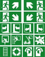 Sammlung von aktuellen Rettungszeichen (Fluchtwege) nach ASR (A1.3) / ISO Eps 10 Vektor Datei