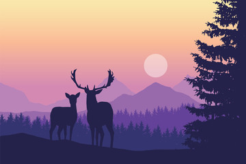 Two deer standing in coniferous forest under mountains and yellow purple sky - with space for text