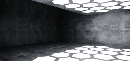 Futuristic Interior Underground Grunge Concrete Room With Hexagon Shaped White Lights On The Ceiling And Floor With Dark Empty Space Wall 3D Rendering