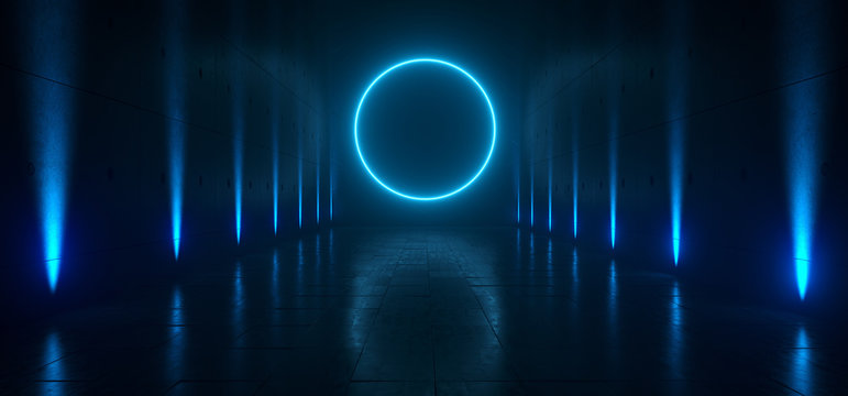 Empty Dark Futuristic Sci Fi Big Hall Room With Lights And Circle Shaped Neon Light On  Refelction Surface 3D Rendering