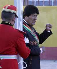 Bolivia's President Morales reacts during country's 193rd independence anniversary ceremony in Potosi