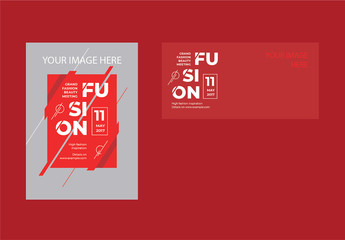 Flyer Layout Set with Red Accents