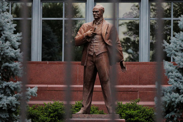 A statue of Mustafa Kemal Ataturk, Turkey's founder, stands in front of the Embassy of Turkey in Washington