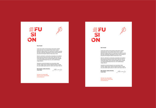 Letterhead Layout Set with Red Accents