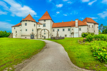 Varazdin town castle architecture. / Scenic view at old castle in Northern Croatia, famous landmark in Varzdin baroque city.