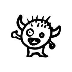 Hand Drawn monster doodle. Sketch style icon. Decoration element. Isolated on white background. Flat design. Vector illustration