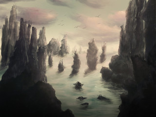 Idyllic and dreamy environment scenery with rocks and ships - Digital Painting