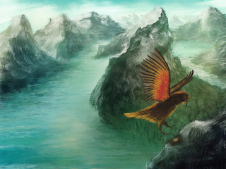 Wide and dreamy environment scenery with  mountains, waterscape and flying bird - Digital Painting