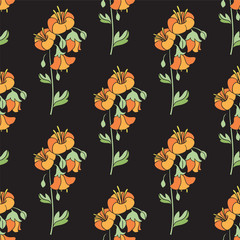 Black Floral Seamless Pattern with Orange Flowers