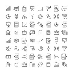Set of premium freelance icons in line style.