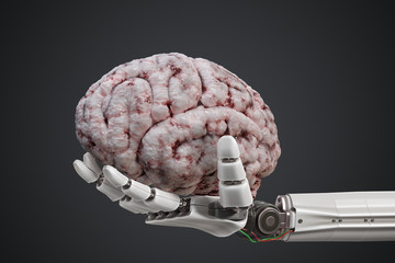 Artificial intelligence concept. Robotic hand is holding human brain. 3D rendered illustration.