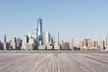 Photo sur Aluminium Batiment Urbain empty street with modern city new york as background
