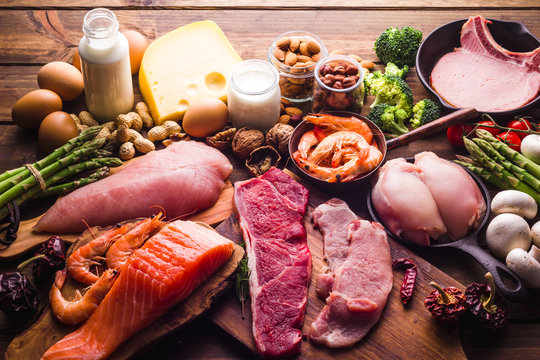 Large group of food, healthy food for a protein diet