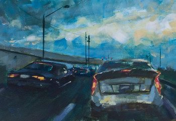 Abstract painting of a sunrise commute with cars driving on the highway - traditional acrylic watercolor painting