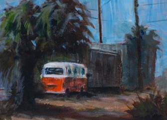 Painting of a vw bus parked in a dirt alley on a sunny day - traditional acrylic watercolor painting