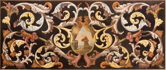 MODENA, ITALY - APRIL 14, 2018: The stone floral mosaic (Pietra Dura) with the St. Francis of Assisi at the prayer in church Chiesa di Santa Maria della Pomposa by Giovanni Pozzoli (1646-1734).
