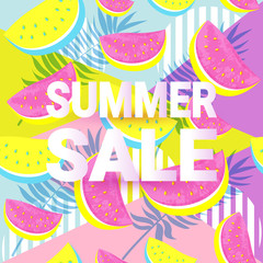 SUMMER SALE typographic banner with seamless Watermelon Pattern isolated on pop art geometric background.