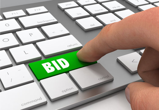 bid button concept 3d illustration