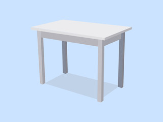 Empty white plastic table isolated on blue background. For product display template. Vector 3d table for object presentation illustration