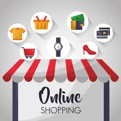 online shopping shop store sign screen wristwatch high heels money credit cards basket vector illustration