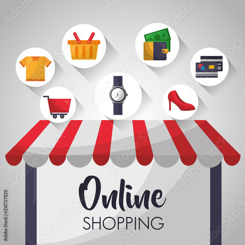 9947c05c1b8 online shopping shop store sign screen wristwatch high heels money credit  cards basket vector illustration