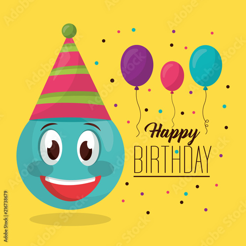 Happy Birthday Balloons Decoration Party Emoji Smiling Vector Illustration