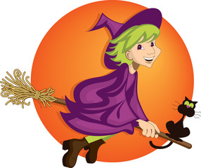 Cute witch and her black cat riding a broom on Halloween