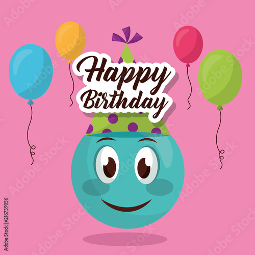 Happy Birthday Emoji Smiling Party Hat Sign Balloons Colors Vector Illustration