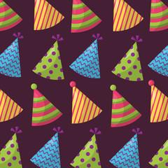 happy birthday party hats celebration colors vector illustration
