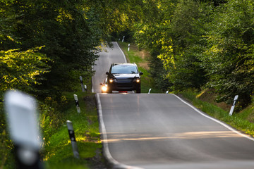 a car on a country road in a forest