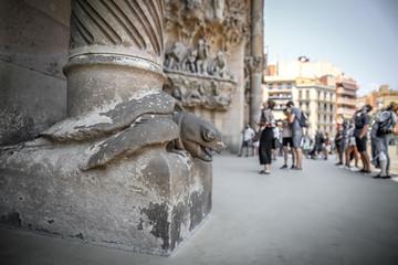 Turtle supporting column of Sagrada familia in Barcelona