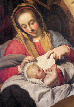 ANTWERP, BELGIUM - SEPTEMBER 5, 2013: The detail of with the child Madonna by unknown painter in Saint Pauls church (Paulskerk).