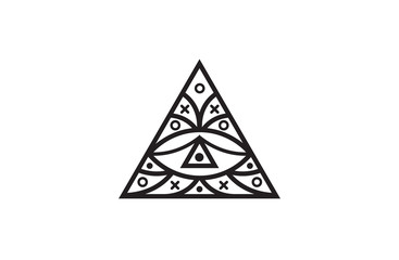 Triangle eye. Illuminati symbol, eye in a pyramid. Vector illustration.