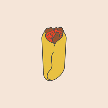 shaurma, burito and doner line icon. Element of fast food icon for mobile concept and web apps. Field outline shaurma, burito and doner line icon can be used for web and mobile