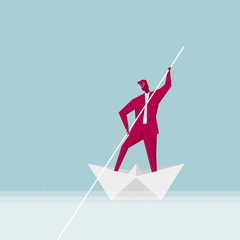 Businessman rowing,Origami toys.The background is blue.