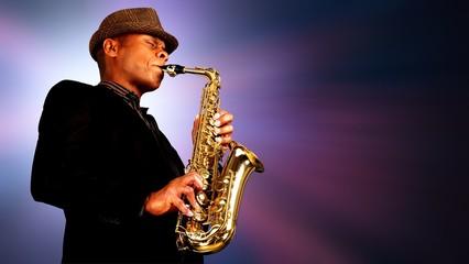 Close-up man playing on saxophone on blurred Fotobehang