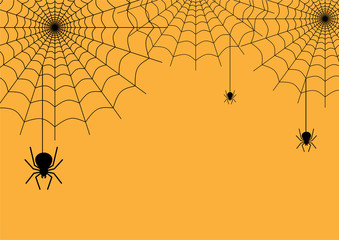 Halloween background vector with dark spider and net silhouette style of sunset orange light