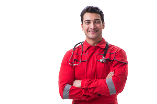 Young handsome man with stethoscope in red uniform isolated on w