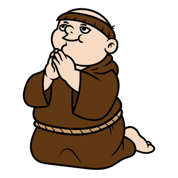 Cartoon Monk Praying