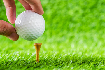 Hand hold golf ball put on tee brown wood with green grass background.