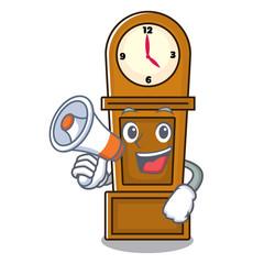 With megaphone grandfather clock character cartoon