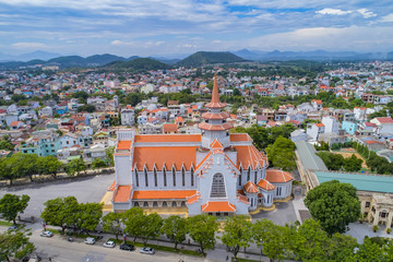 Aerial view Congregation of the Most Holy Redeemer at Hue City, Vietnam