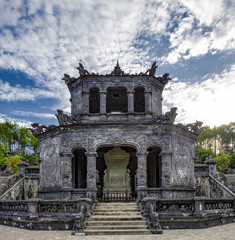 Tomb of Emperor Khai Dinh. It was built for the Nguyen Emperor Khai Dinh in 1920 and complete in 1931, A UNESCO Heritage site on 17 March 2015