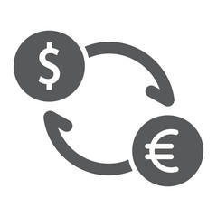 Exchange glyph icon, finance and banking, currency sign, vector graphics, a solid pattern on a white background, eps 10.